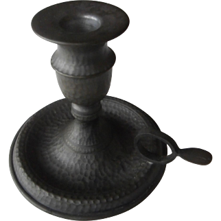 Mid-Century | Pewter Chamber Candlestick / Candleholder with Loop Handle