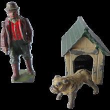 Britains Pre-War Painted Lead Farmer + Dog + Kennel