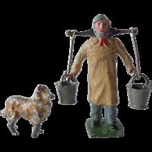 Britains Pre-War Painted Lead No591 Dairyman With Yoke + Pails + Dog