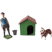 Britains Pre-War Painted Lead Stable Lad Dog & Kennel