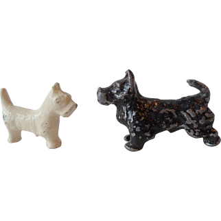 Vintage Black and White Scottie Dogs For Your Dollshouse
