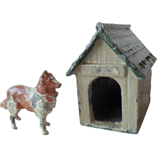 c1930s Britains Painted Lead Sheepdog And Kennel