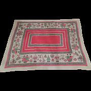 Vintage Santa Christmas Large Linen Tablecloth