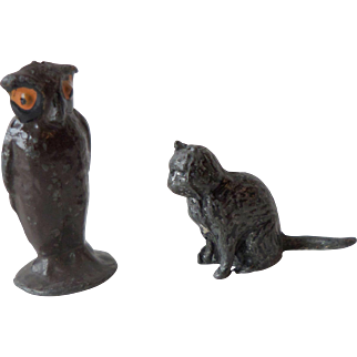 1930s Britains Painted Lead Lucky Black Cat + An Owl