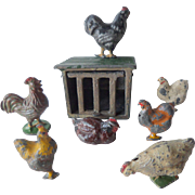 Vintage John Hill & Co Painted Lead Hen Coup & Hens & Roosters