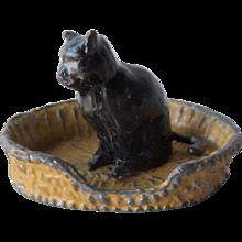 Britains Pre-War Painted Lead No604 Black Cat & A Cat Basket