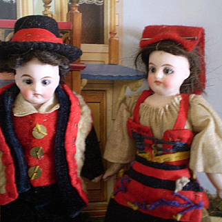 for Doll House : couple of folkl dolls, 4 3/4in