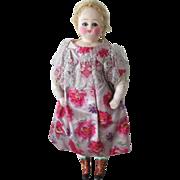 Wax over paper mache lady doll, 9 3/4 in, sleep eyes