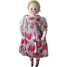 Wax over paper mache lady doll, 9 3/4 in, sleep eyes - Red Tag Sale Item