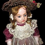 rare BRU doll in hardened rubber. 15 3/4 in