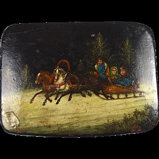 Large original Victorian hand painted snuffbox Russian sleigh ride scene c.1860