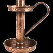 English Arts and Crafts copper candle stick chamber stick circa.1900