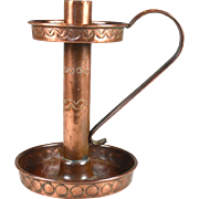 English Arts and Crafts copper candle stick chamber stick circa.1900