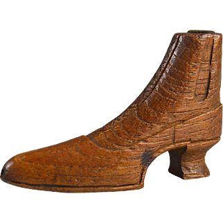 Miniature Victorian hand carved wooden boot ladies treen shoe circa.1880