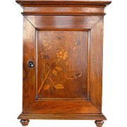Art Nouveau inlaid mahogany table top cabinet cupboard with key floral scene Galle style