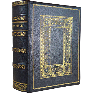 Large antique leather bound family illustrated Holy Bible circa.1850