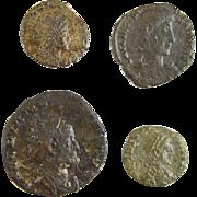 A group of 4 small Roman bronze coins Billon 200-300 AD