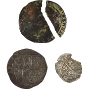 A group of 3 hammered silver coins James 1st shilling Edward 3rd halfpenny unidentified foreign coin