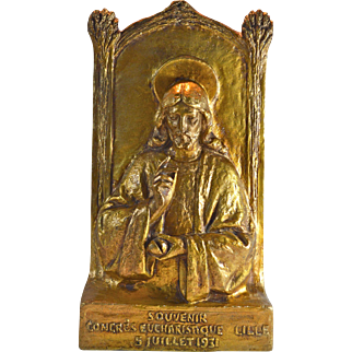 Gilded gesso statue of Jesus Christ from Congres Eucharistique Lille France 1931 shrine