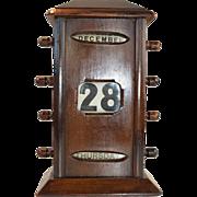 Edwardian mahogany perpetual desk calendar wind on desk top calendar circa.1910