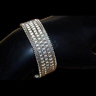 LA DEA BENDATA Sterling Silver Italy Diamond Finish Mesh Exquisite Fine Bracelet
