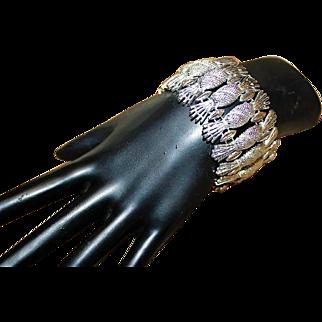 SARAH COVENTRY Designer Signed Brushed Texured Silver Pineapple Spiky Wide Bracelet