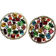 KIRKS FOLLY Designer Couture High End New Old Stock Dazzling Fruit Salad Large Earrings