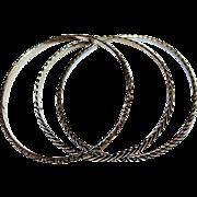 Antique Victorian Repousse Fine Sterling Silver Stackable Bangle Bracelets