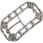 "Antique Victorian Extra Large 4.5"" Paste Rhinestone Brass Waist Belt Buckle"