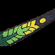 Antique Art Deco Black Yellow Green Glass Beaded Silk Near MINT Neck Tie