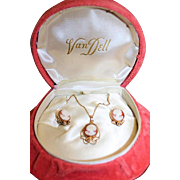 VAN DELL Designer 12K Gold Filled Carved Coral Cameo Necklace Earring Set W/ Orig Box