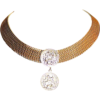 Vintage High End Designer Couture Mesh Collar Choker Coin Byzantine Embossed Necklace