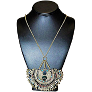 Antique Indian Face Tribal Silver Tone Dangle Traditional Turquoise Coral Necklace