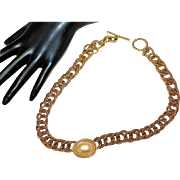 MONET  Faux Mabe Pearl Textured Gold Tone Brushed Designer High End Couture Necklace