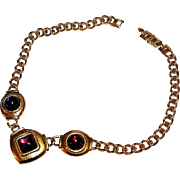 MONET Designer Haute Couture Runway Poured Glass Gripoix Brushed Chain Heavy Necklace