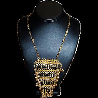 ACCESSOCRAFT NYC Designer Signed High End Gold Plate Boho Unique Rare Necklace