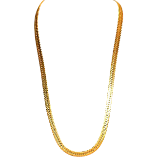 GIVENCHY Designer Signed Gold Tone Snake Chain High End Necklace