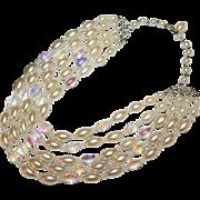 LAGUNA Designer High End Faux Pearl AB Crystal Runway Bold Cascading Five Strands Necklace