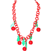 Vintage Red Cherries Charms Celluloid Lucite Dangling Charms Bakelite Necklace