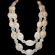 Vintage Designer High End Runway Bold AB Crystal Double Strand Crystal Lucite Necklace