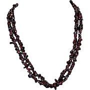 Antique Victorian Exceptional Exquisite Garnet Chip Beads Polished Long Necklace