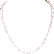 Vintage Exquisite Hand Knotted Quartz Crystal Genuine Freshwater Pearl Necklace