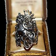 SALE! Antique Edwardian Sterling Silver Lady Queen w Crown w Original Box Ring Sz6.5