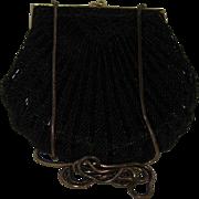 Classy 1980's Retro Black Beaded Handbag