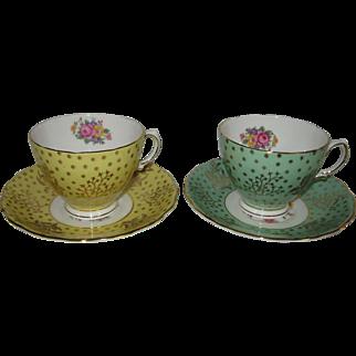 Pair of Vintage Colclough Bone China Cup & Saucer Sets