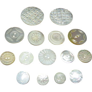 Fifteen Vintage Carved Mother Of Pearl Buttons