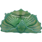 Vintage Opalescent Fluorescent Green Glass Dish