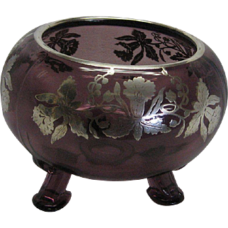 Silver Overlay 3 Footed Rose Bowl in Amethyst Glass
