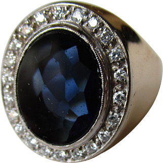 Vintage yellow 18k gold ring with big blue synthetic stone and diamonds