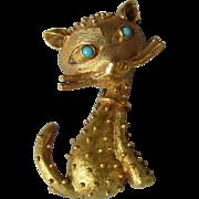 Vintage cat in 18K gold brooch